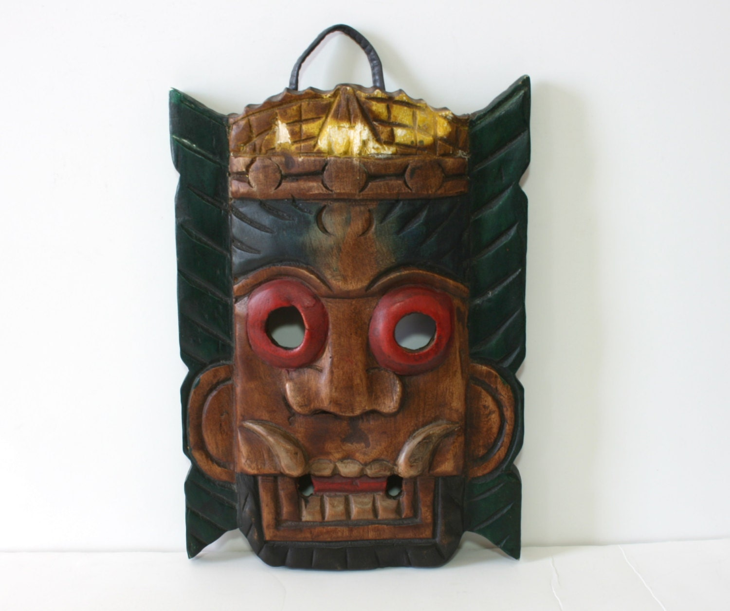 Wall Decoration With Masks : Vintage handcarved tiki mask wood decor tribal wall