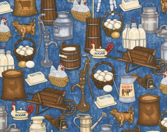 Happy Homestead - Dan Morris for RJR Fabrics-Cows, Milk, Eggs, Churn-BTY