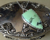 Luscious Lemon Chrysoprase Sterling Silver Ribbed Bezel Set Necklace - Girl With The Animal Earrings