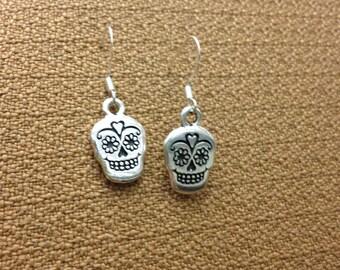 Sugar Skull Pewter Earrings