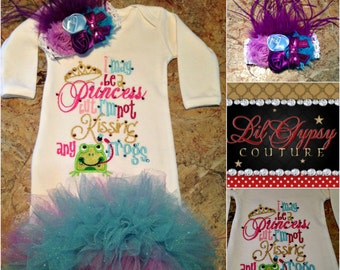 Boutique baby gown - Not kissing no frogs