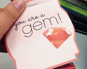 """Ring Lollipop """"You are a gem!"""" Printable"""