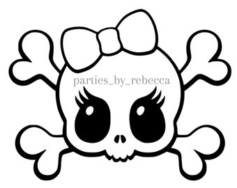 Skull and Bow SVG digital file