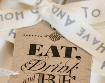 24 Vintage Shabby Chic 'Eat Drink and be Married' wedding favour tags
