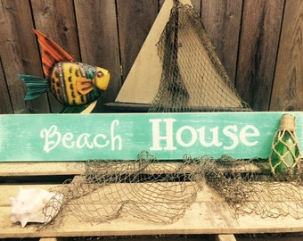 Nautical sign! Beach House distressed wooden sign for your beach decor or out by the pool!