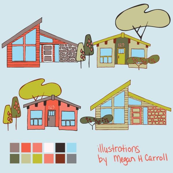 Clip art illustration mid modern houses for by for Modern house clipart