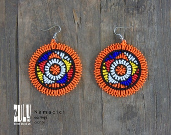 NAMACICI - Zulu Beaded Earrings - orange