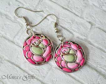 Dangling earrings spring roses - Polymer clay jewelry - Spring trends - Romantic earrings - Pink & mint rose - For her - Gift ideas