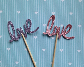 Cupcake toppers with the word Love in glitter! (Pk of 20)
