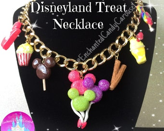 Ultimate Disneyland Treat Charm Statement Necklace Mickey Balloon Ice Cream Popcorn Churro Dole Whip Lollipop Disney Inspired