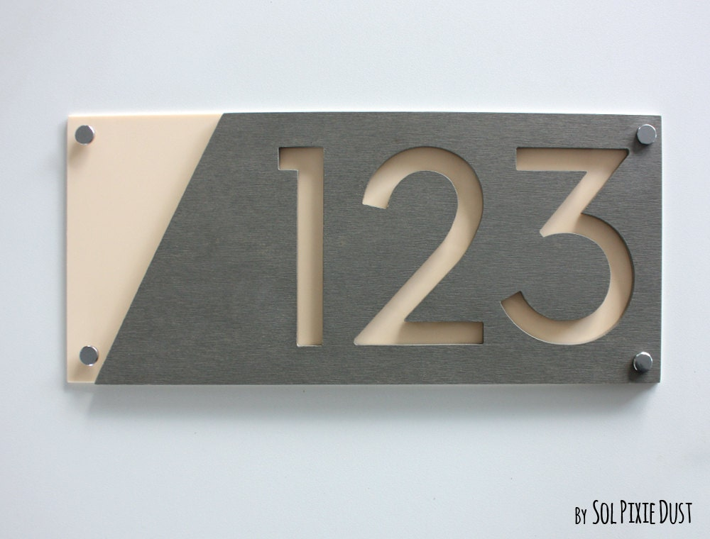 Modern House Numbers Concrete with Beige Acrylic