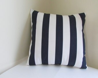 Navy/White Decorative Throw Pillow, Blue And White  Stripe Pillow Cover