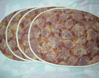 Quilted Oval Placemats - Golden Leaves - Set of 4