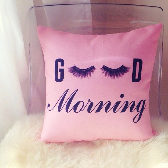Good Morning eyelashes cushion cover pillow throw pillow