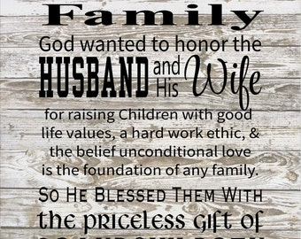God Blessed the Husband & Wife with Grandchildren, Great Grandchildren Wood Sign, Canvas Wall Art, Print, Christmas Gift