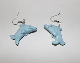 Polymer Clay Doldhin Earrings, Jewel