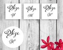 wedding flip flop basket Size Tags S M L for Weddings Printable Small Medium Large DIY Instant Download PDF JPG sz Instant download