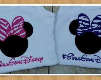 Minnie Mouse applique Tank, Girls Gone Disney, vacation shirt, animal print bow
