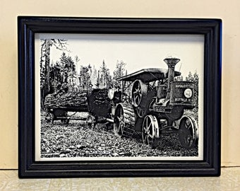 Pen and Ink Drawing, Art, Nostalgic Art, Logging, Steam Tractor