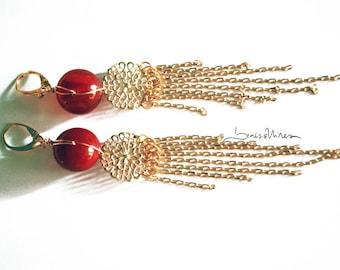 long chain red earrings