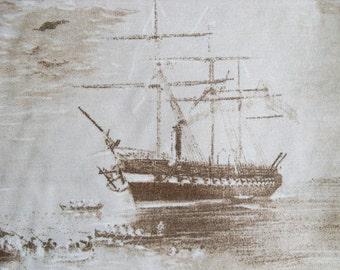 "Beautiful Eco Standard Quality Brown Marine Nautical Ship Print Fabric 50x69cm (20""x27"")"