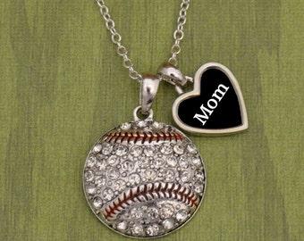 Baseball Mom Necklace with Two Charms