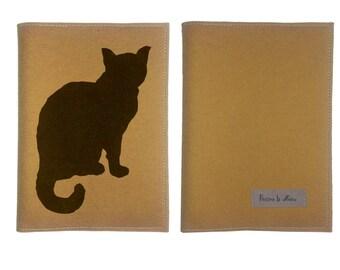 Cat Journal  & Sketchbook Hand Printed  Mustard Felt Book
