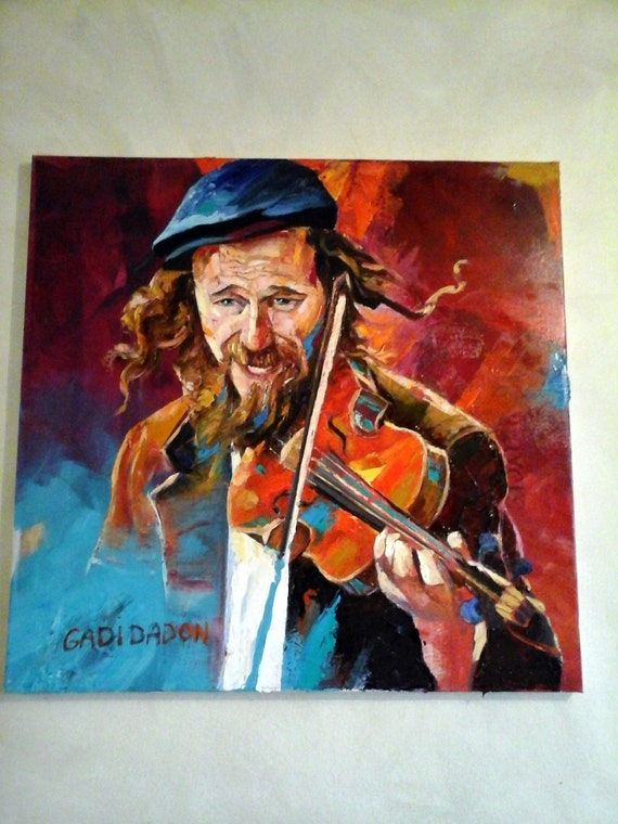 Jewish painting happiness musician violinist palette knife for Israeli artists oil paintings