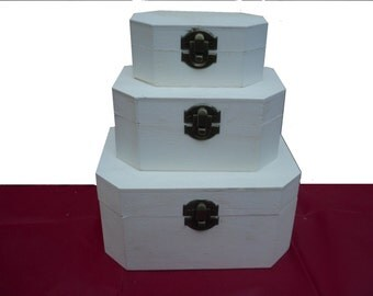 Hexagonal Wooden Boxes 3 in 1 art and craft decupage gift boxs party favours