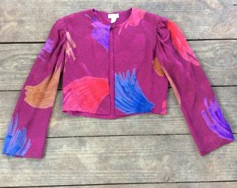 Vintage SILK Brushstroke Print Cropped Jacket / Made by Andrea Odicini / Jeweltone