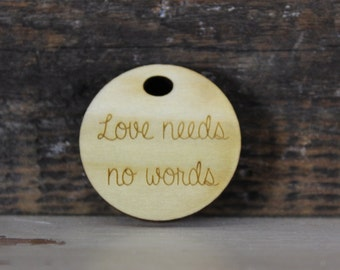pendant, wood, necklace, keychain, love needs no words, autism, autism support, aspergers