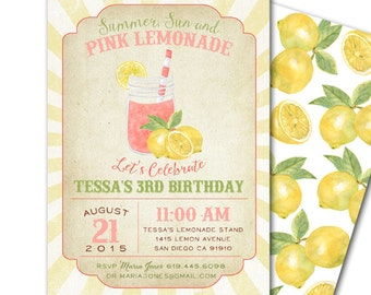 Pink Lemonade Invitation - Vintage Distressed Pink Lemonade birthday party invite - PRINTABLE PARTY PACK available!