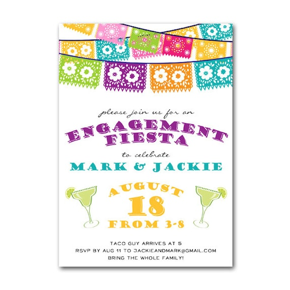 Colorful Engagement Invitations Engagement Colorful Fiesta