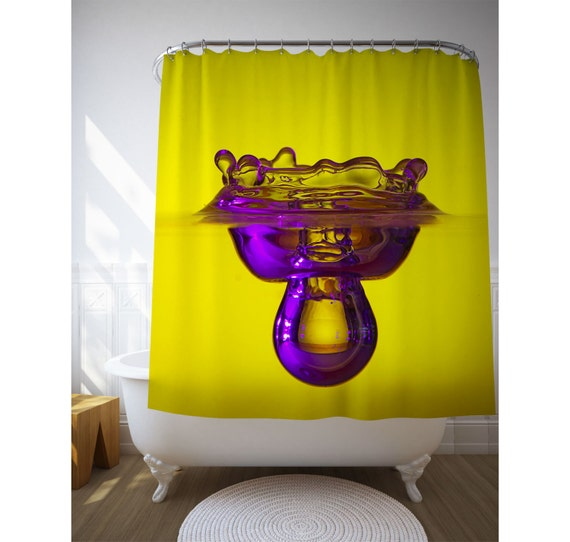 items similar to purple drop shower art yellow purple
