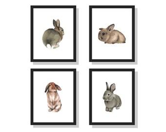 Watercolor Bunnies Set- bunny rabbit art print woodland nursery art cute animal painting baby animal watercolor childrens room  set of 4