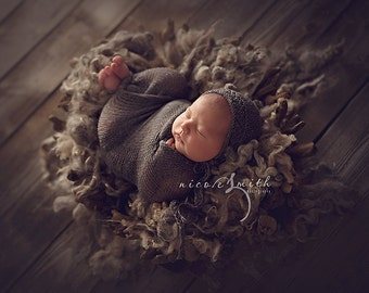 Organic Silver Loose Curls Newborn Photography Props