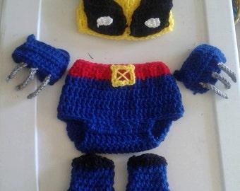 Crochet Wolverine baby set