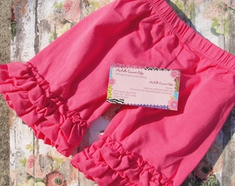 Hot Pink Double Ruffle Shorts, Pink Shorties, RTS, 12M, 18M, 2T, 3T, 4, 5, 6, 7, 8, Shorts, Pink Shorts, Girls Shorts, Shorties, RTS