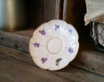 Dainty Leneige Antique Vintage Saucer Lavender Purple Pansies Flowers Gold Trim REPLACEMENT Saucer Only...no Teacup