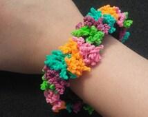 Double Sea Coral Bracelet with Black Base