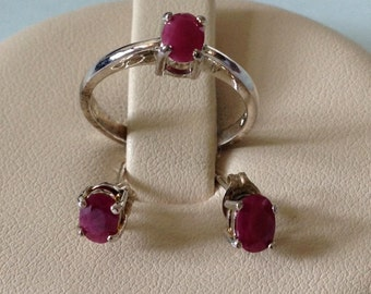 Sterling silver ruby ring & earring set; stamped .925, 3.2 grams, size 7, 3 oval rubies; July birthstone