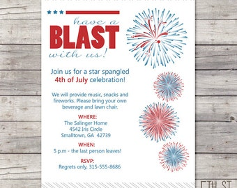 Fireworks 4th of July Party Invitation, DIY Printable, Red, White, Blue, Modern, Independence Day, BBQ