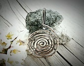 Pendant-Sterling Silver-Wire Wrapped-Spiral-Interchangeable