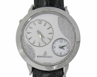 Bertolucci Montre quartz Volta Stainless Steel Silver Diamond Dial 42mm Watch 1213