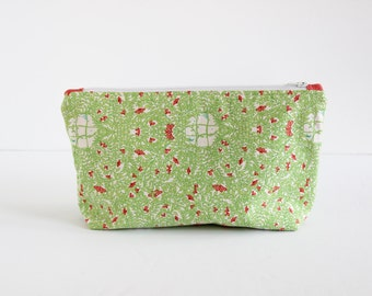 Cosmetic Bag | Zip Pouch Make-up Bag in Green Floral Print with Beige Linen Lining | s/f Designs