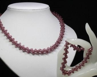 Textured Spiral Necklace and Bracelet in Dark Pink