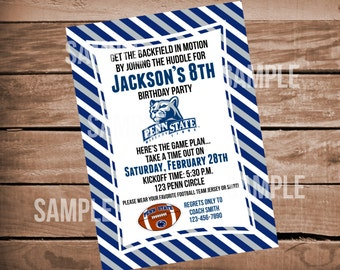 Penn State Lions Footbal Birthday Party Invitaiton with Stripes