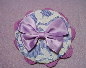 Lilac headband with bow and lace