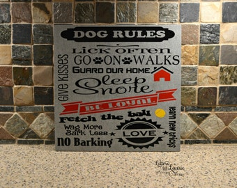 12x12 Dog Rules Sign, Pet Lovers Gift