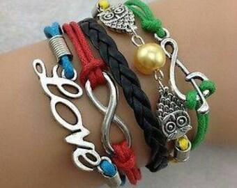 Infinity Love Music Owl Multi Color Leather Adjustable Bracelet